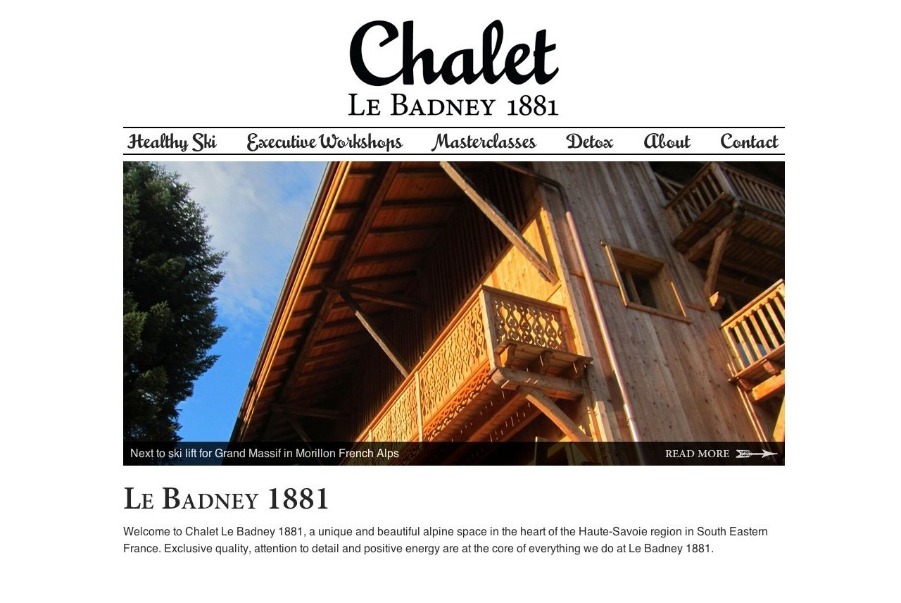 Website for Chalet le Badney 1881 in Morillon